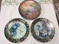 Vintage The Bradford Set Of 3 Plates Lena Liu Hummingbirds Set Of Collector EC