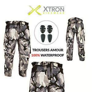 Camouflage Waterproof Motorcycle Motorbike Trousers Motocross Textile Armour UK