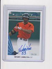 2013 Leaf Memories HENRY URRUTIA Blue Parallel On Card Autograph RC #10/20 SP