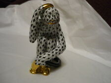 HEREND Monkey Scratching his head black fishnet  RARE, hard to find!