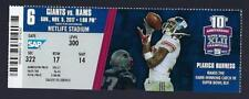 2017 NFL LOS ANGELES RAMS @ NEW YORK GIANTS FULL UNUSED FOOTBALL TICKET