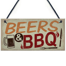 Beers BBQ Novelty Hanging Garden Sign Man Cave Shed Plaques Dad Friendship Gifts