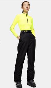Topshop Sno Snow Ski Trousers Salopettes Black Neon Belt Uk 12 RRP £79 NEW BNWT
