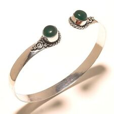 Silver Plated Fashion Jewelry Green Onyx Stone Cuff Bengal