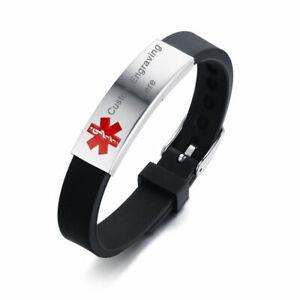 Medical Alert Black Silicone Adjustable Bracelet Women Men Kids Free Engraving