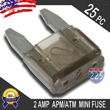 25 Pack 2A Mini Blade Style Fuses APM/ATM 32V Short Circuit Protection Car Fuse