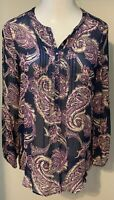 Lucky Brand Size Small Navy Blue Purple Sheer Paisley Print Tunic Top Blouse