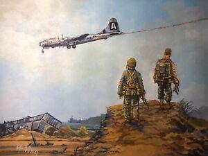 Original Acrylic Painting by P.Hill. Boeing B-29 Superfortress. Iwo Jima 1945.