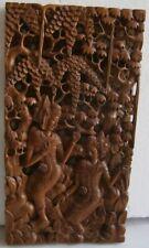 Vintage sculpture bois Bali haut relief Balinaises Folk art master panel 24x45cm