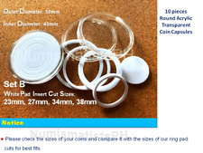 Coin Capsules 10 pcs Acrylic Coin Case / Coin holders with EVA Ring Pads