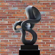 """Moderne Abstrait PLASTIQUE/STATUETTE/SCULPTURE """" Loop Boucle """" Surface Noir Mat"""