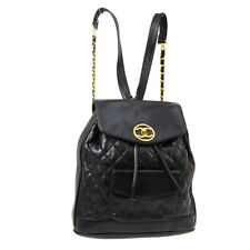 CHANEL Quilted Round CC Chain Backpack Bag 2291663 Purse Black Leather AK31540d