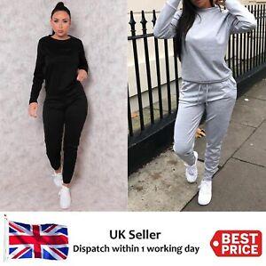 Womens Ladies Long Sleeve Loungewear Top Bottom 2 Pc Set Tracksuit Jogsuit New