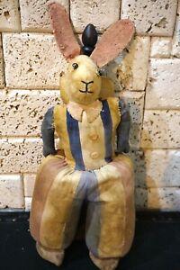 "20"" Antique Store Display Felt Cloth Doll Bunny RABBIT Figure Straw-stuffed Toy"
