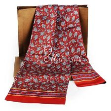 "Luxurious Mens 100% Silk Long Scarf/Cravat Double Layer 63""X12"" ●M701Red#"