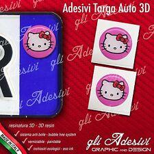2 Adesivi Stickers bollino 3D Resinato targa Auto Moto HELLO KITTY Pink