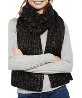 DKNY Womens Flat Stud Lurex Rib Knit Scarf Black Silver New With Tag $58