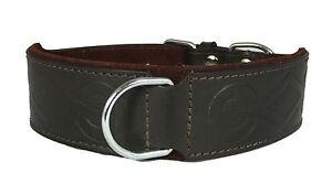 Brown Retro Design Leather Staffy Staffordshire Bull Terrier Dog Collar Bulldog