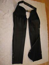 Motorcycle Biker Chaps Soft Heave Black Leather Zippers Snap Belts, Sz. M x 34