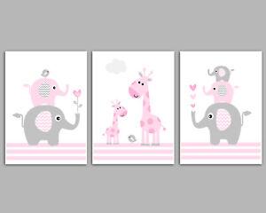Baby Girl Nursery Art / Pink & Grey / Set Of 3 Prints / Elephants & Giraffe's