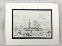 Original Tinte Zeichnung Sketch Yacht Cruiser Boot My Mhoire Torquay Hafen Signé