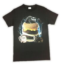 Cats and Burgers Black Tee T-Shirt Big Hamburger Adult Mens Small
