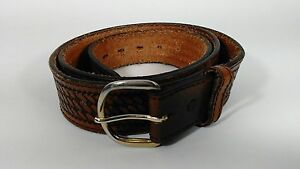 Men's Top Grain Cowhide Brown Leather Belt Size 44 Made in USA