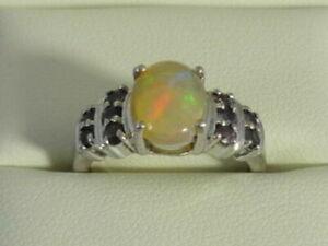 Ethiopian Opal & Tunduru Colour Change Sapphire & Sterling Silver Ring Size K