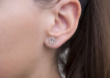 Sterling Silver .925 Tiny Small Open Lotus Flower Yoga Studs Stud Post Earrings