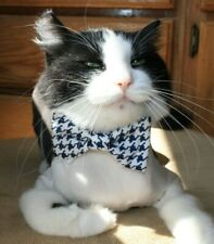 New Cat Black White Houndstooth Bow Tie on White Shirt Collar Pet Bow Tie
