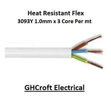 Heat Resistant White Flexible Cable 3 Core 1.0mm 3093Y Flex Per Metre - MULTIBUY