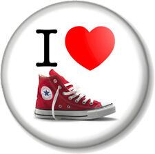 I Love / Heart CONVERSE 25mm Pin Button Badge Red Baseball Boots Chuck Taylor