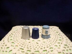 Collectible-Thimbles-3-all ceramic-possibly handmade,silver,blue,cameo  lot #49
