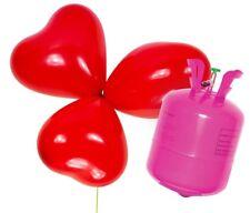 Helium Ballongas mit 50 roten Herzluftballons Heliumflasche Folienballons Ballon