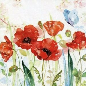 4 x Single Paper Napkins/3-Ply/33cm/Decoupage/Flowers/Poppies and Butterfly