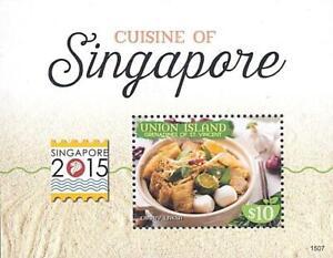 👉 ST.VINCENT/UNION IS. 2015 SINGAPORE FOOD S/S MNH