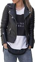 Women's Lambskin Real Leather Jacket Biker Soft Motorcycle Black Quilted Outwear