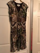 LINDA SEGAL faux Leather Belt Dress M