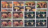 Guyana Mi Nr. 3680 - 3684 4er Blocks, TOP rund gest., Pilze Mushrooms, used