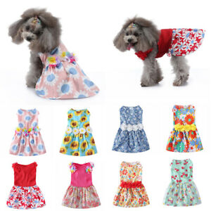 Pet Dog Cat Cute Princess Floral Print Skirts Clothes Puppy Costumes Outfit XS-L