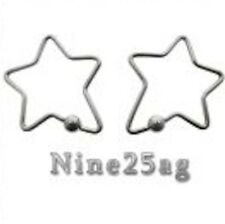 PAIR 16g STAR CBR EARRING NIPPLE RINGS RING PLUGS