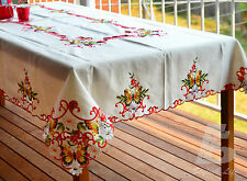 """180x270cm (72""""x108"""") Oblong Table Cloth,  Embroidered Butterfies, Red FFD-018R"""