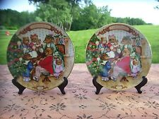 Lot of 2 1989 Together For Christmas Avon Victorian Bear Family Plate Bc1