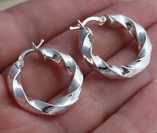 Solid 925 Sterling Silver Twisted Huggie  Hoop Earrings 27mm Diameter Gift Boxed