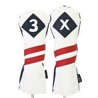 Majek Golf #3 & X Fairway Wood Headcover White Blue w/ Red Stripe Leather Style