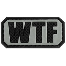 PVC Morale Patch WTF Gray Black 3D Badge Hook #43 Paintball Airsoft
