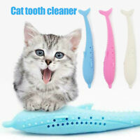 Pet Cat Fish Shape Toothbrush Brushing Chew Toy Stick Teeth Cleaning Oral Care
