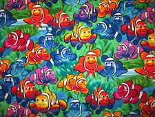 Clownfish Colorful Nemo Dory Tropical Fish Cotton Flannel Fabric BTHY