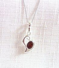 Genuine Cognac Amber 925 Sterling Silver Pendant & Chain