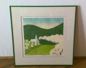 1978 Sabra Field 45/100 Apple Blossoms Woodblock Print Square Framed Signed